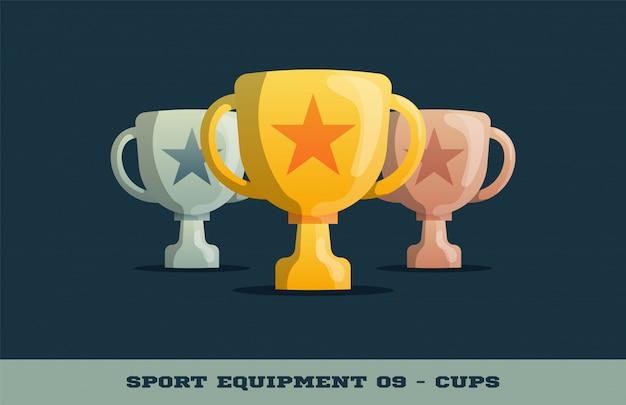 Трофей победителя золотые, серебряные и бронзовые кубки icon Premium векторы