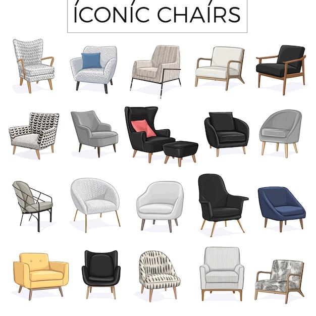 Iconic chair hand drawn illustration Premium Vector