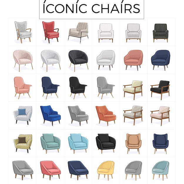 象徴的な椅子手描きイラスト Premiumベクター