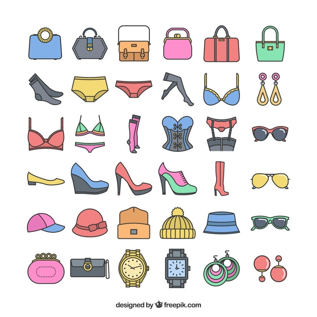 Iconic fashion accesories Free Vector