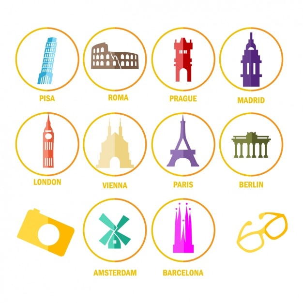 Icons about monuments from around the\ world