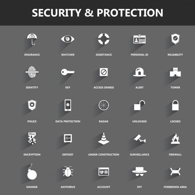 Icons about security and protection Free Vector
