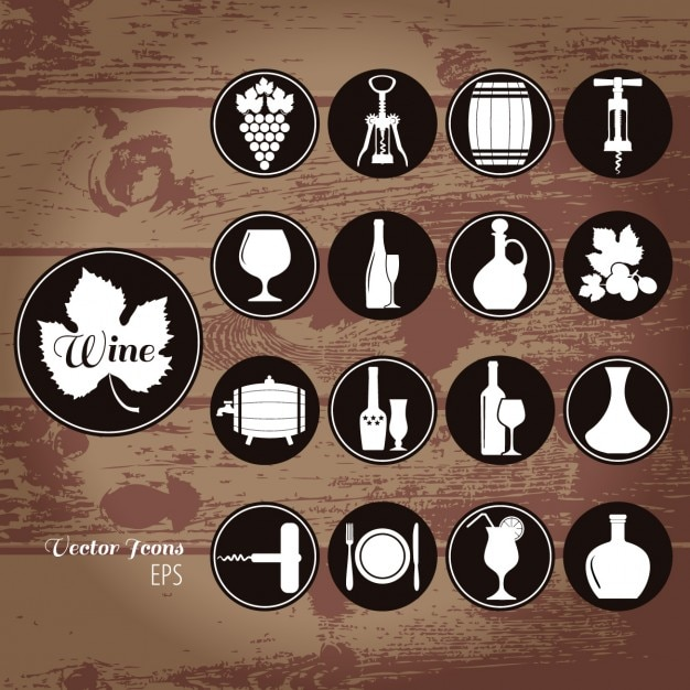 Icons about wine on a wooden background
