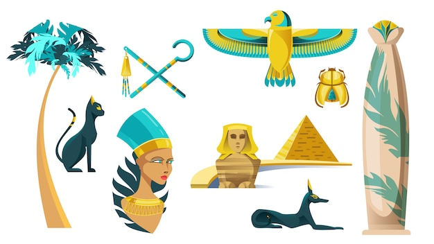 Icons of ancient egypt symbols Free Vector