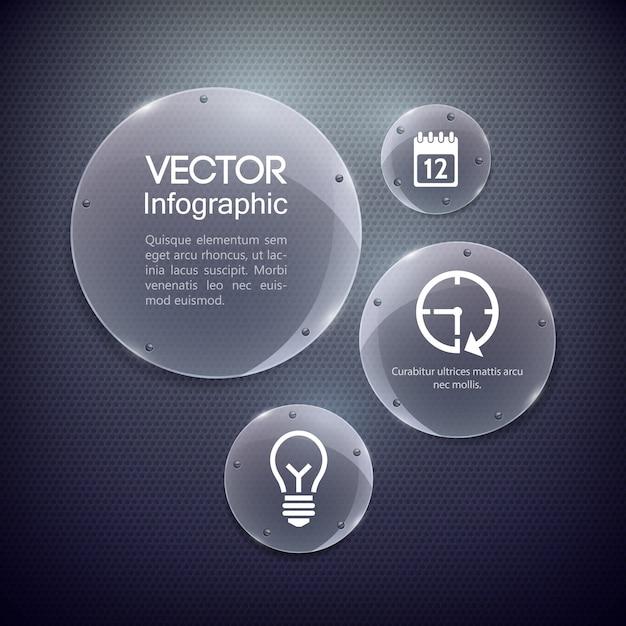 Иконы и стеклянные круги рамки Бесплатные векторы