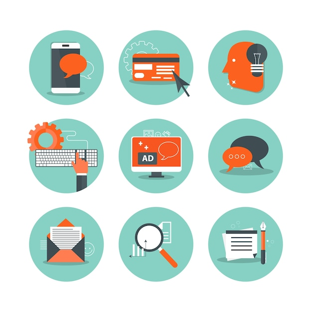 Icons for business and technology Premium Vector