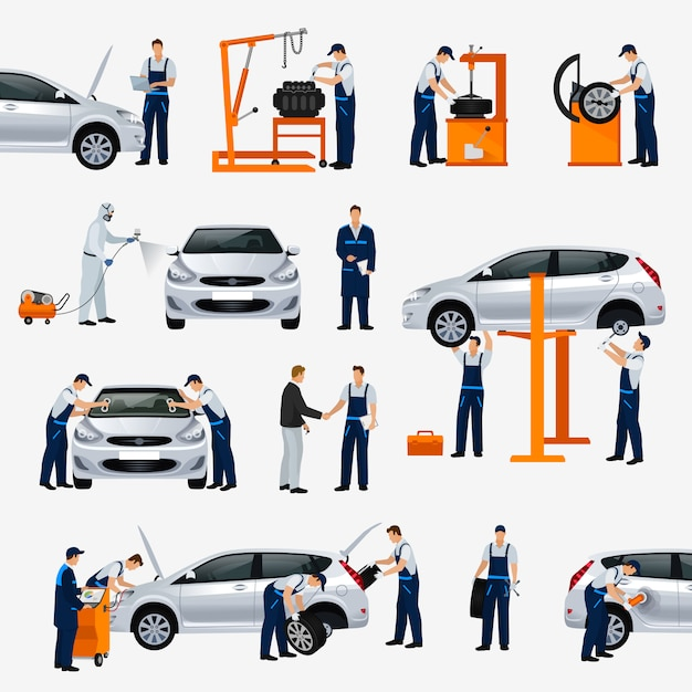 Icons car repair service, different workers in the process of repairing the car, tire service, diagnostics, vehicle painting, window replacement spare parts.  illustration Premium Vector