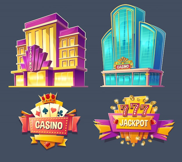 Icons of casino buildings and signboards Free Vector