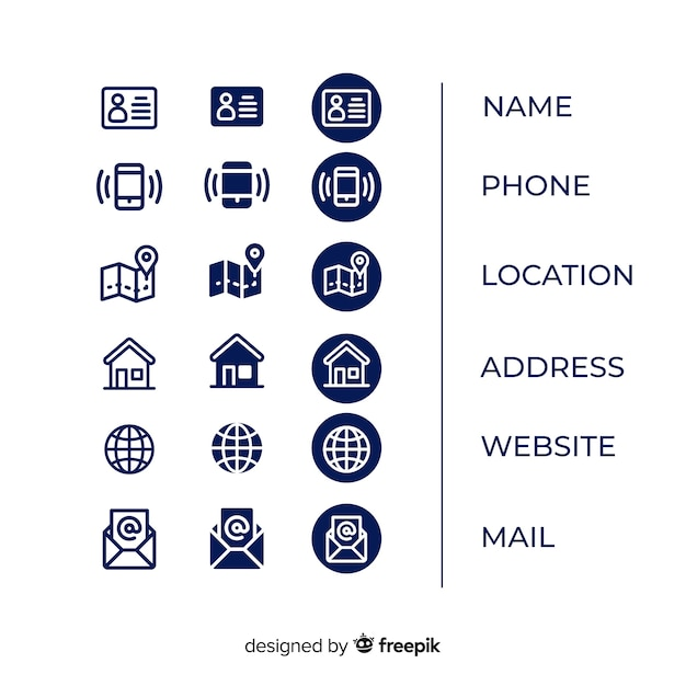 Icons collection for business card Free Vector
