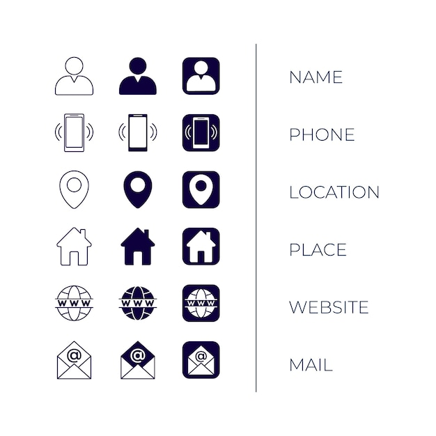 Icons collection for business cards Free Vector