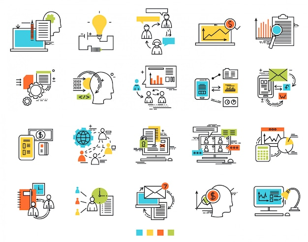 Icons for e-business engineering idea Premium Vector