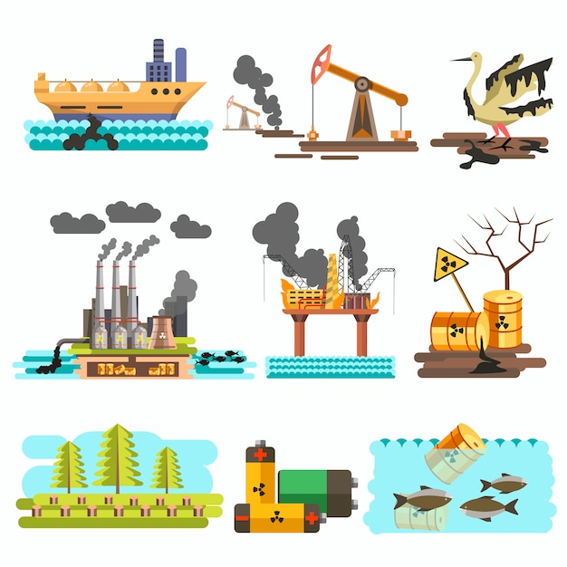 Icons of ecology vector flat design concept illustration set. Premium Vector