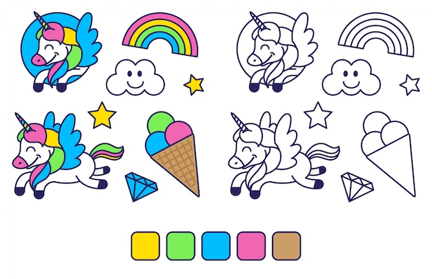 Icons elements set in sticker style coloring for kids education and inspiration with happy fantasy unicorn colorful rainbow sweet ice cream. modern   cartoon character illustration flat design. Premium Vector