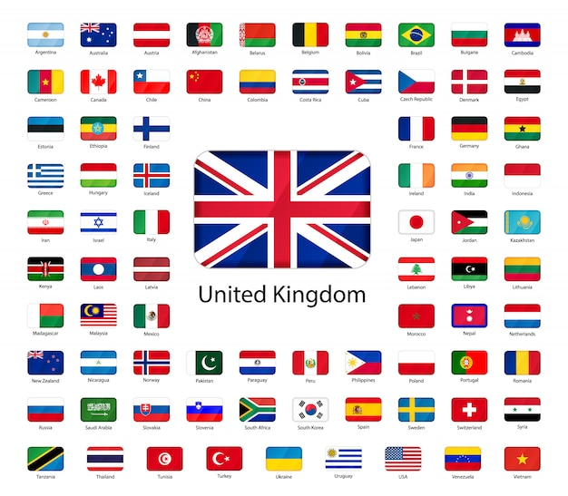 Icons of flags Premium Vector