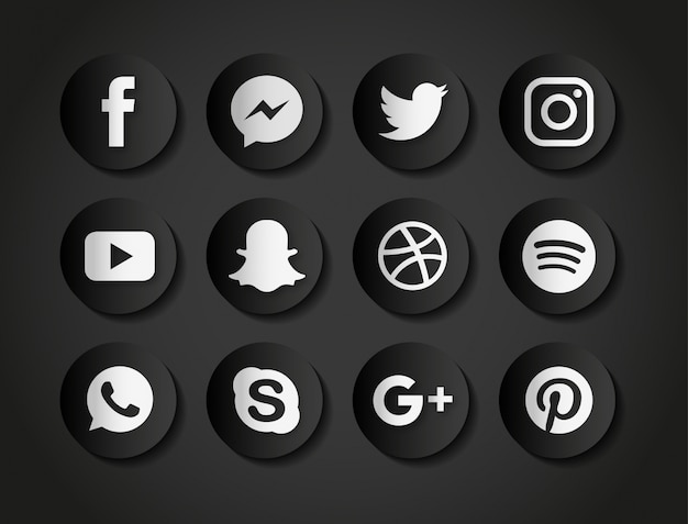 Icons For Social Networks On A Black Background Vector