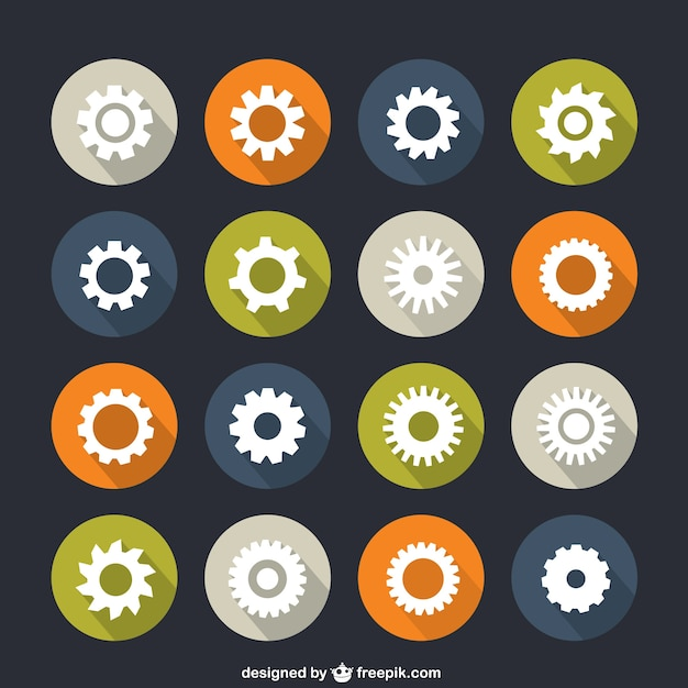 Icons of gears Free Vector