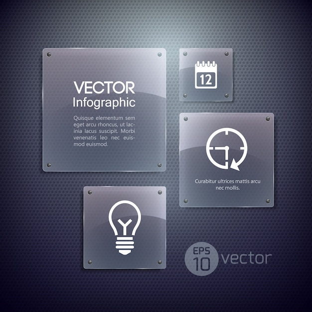 Icons and glass squares frames Free Vector
