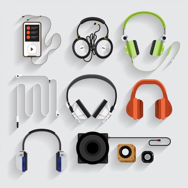 Icons headphones ,speaker, mp3 player Premium Vector
