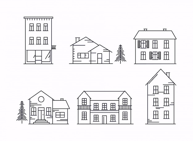 Icons and illustrations with buildings, houses and trees. Premium Vector