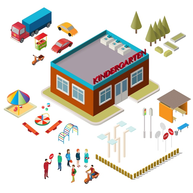 Icons of the kindergarten building, playground equipment, cars and people Free Vector