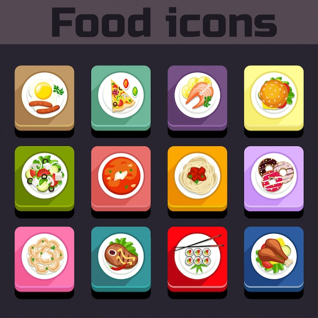 Icons meal plan view Premium Vector