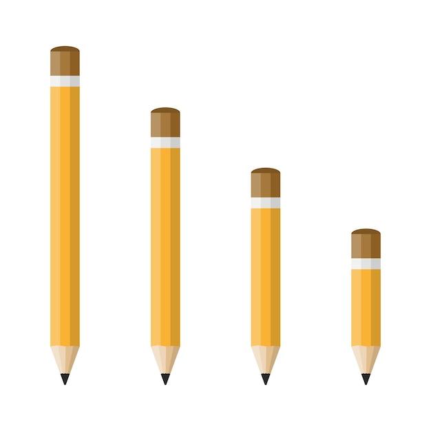Иконы карандашей в плоском дизайне, изолированные на белом Premium векторы