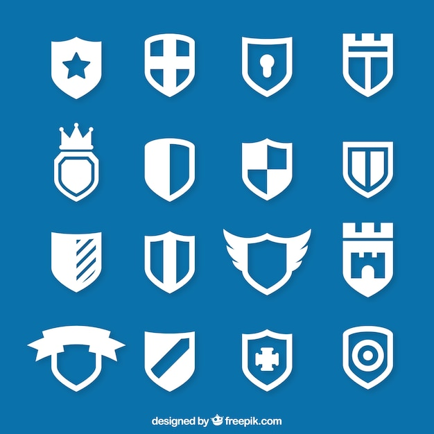 Icons of shield Premium Vector