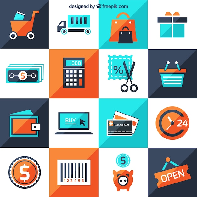 Icons of shop Free Vector