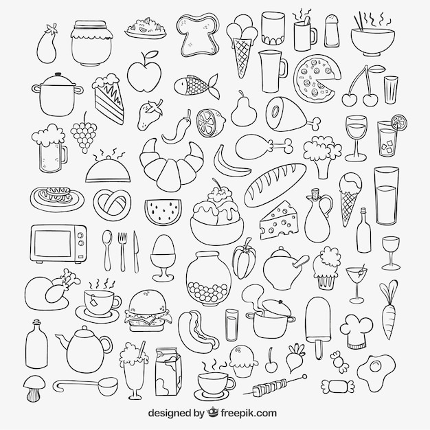 Icons of sketchy food Free Vector