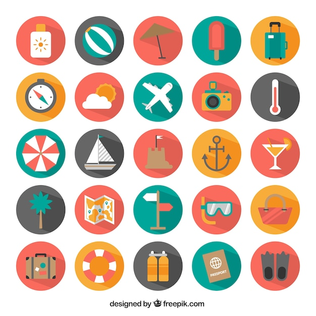 Icons of summer vacation Free Vector