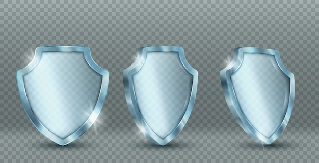 透明なガラスシールドのアイコン 無料ベクター