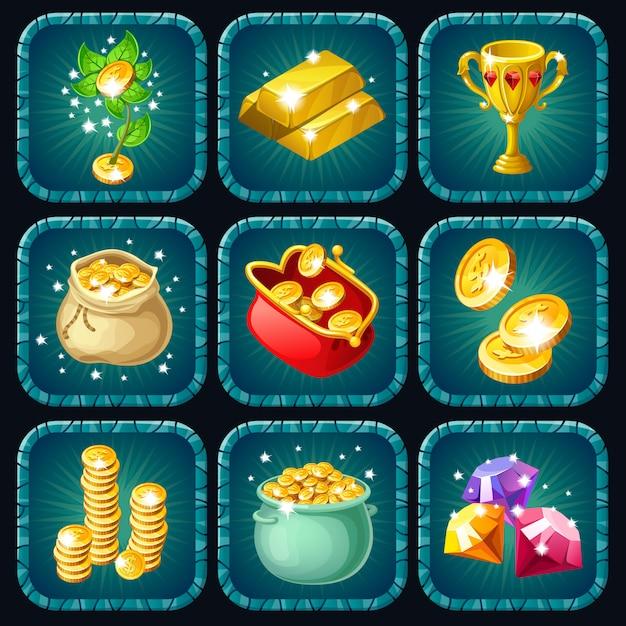 Иконки призов для компьютерной игры. Бесплатные векторы