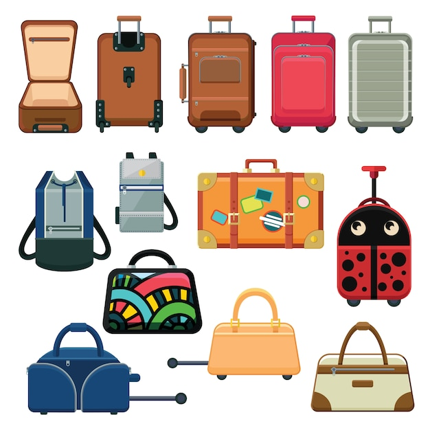 Icons set about suitcases and backpacks. Premium Vector
