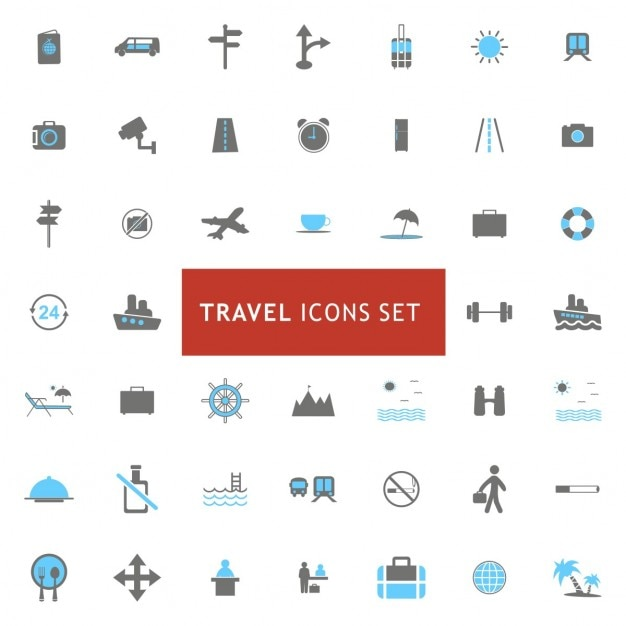 Icons set about travel elements Free Vector