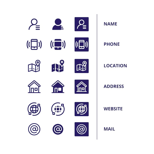 Icons set for business card Free Vector