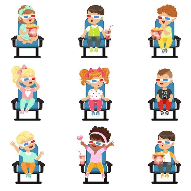 Icons set of cute little children in -glasses Premium Vector