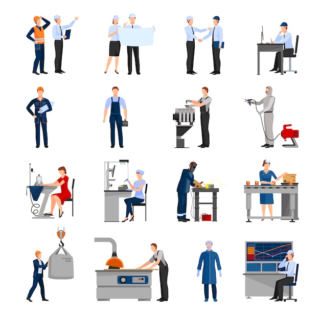 Icons set of drawn in flat style different factory workers Free Vector
