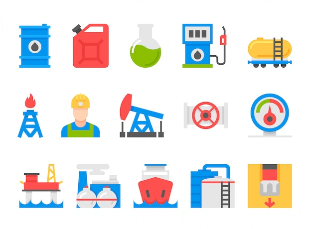 Icons set of heavy industry, mining resources, tanker and fuel, energy industry. Premium Vector