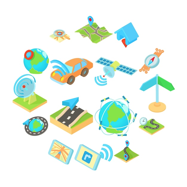 Icons set in isometric 3d style. set collection illustration Premium Vector