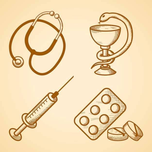 Icons set of medical items Free Vector