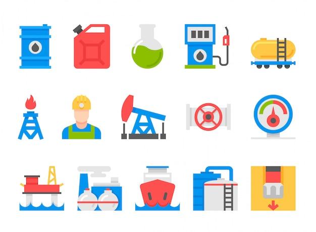 Иконки набор тяжелой промышленности, горнодобывающих ресурсов, танкер и топливо, энергетика. Premium векторы