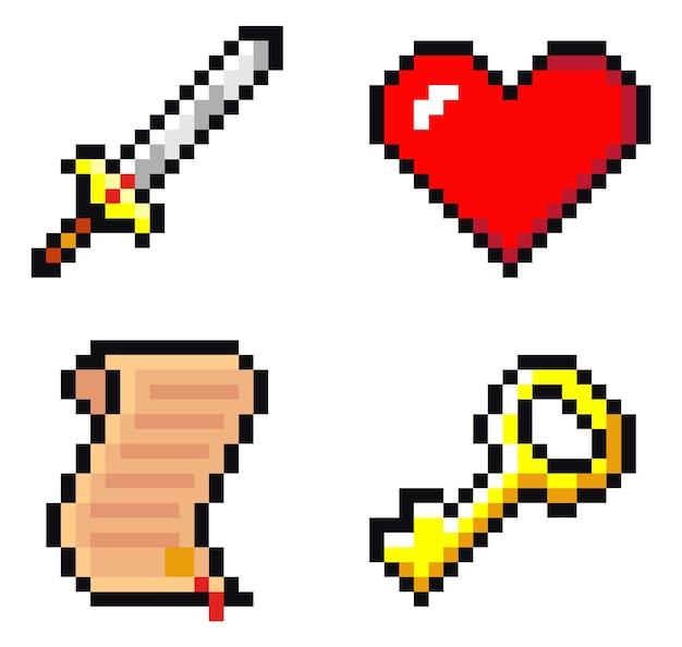 Набор иконок меча, свитка, сердца и ключа. пиксель арт, изолированные на белом фоне Premium векторы