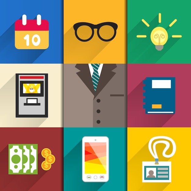 Icons set of office accessories Free Vector