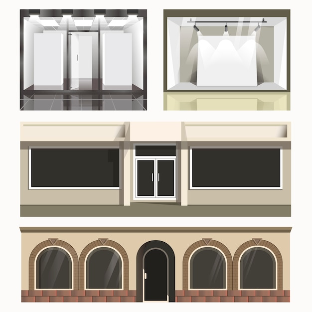 Icons set of showcases stores. Premium Vector