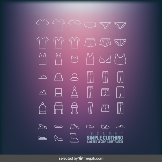 Icons set of simple clothing Free Vector