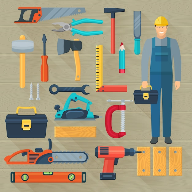 Icons set with carpentry tools kit for woodwork Free Vector
