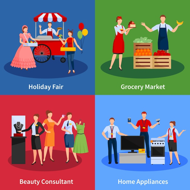 Icons set with vendors providing services Free Vector