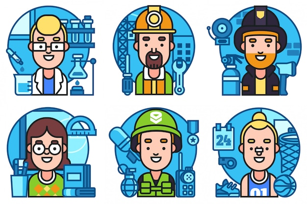 Icons set workers profession collection Premium Vector