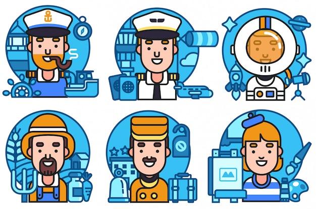 Icons set workers profession Premium Vector