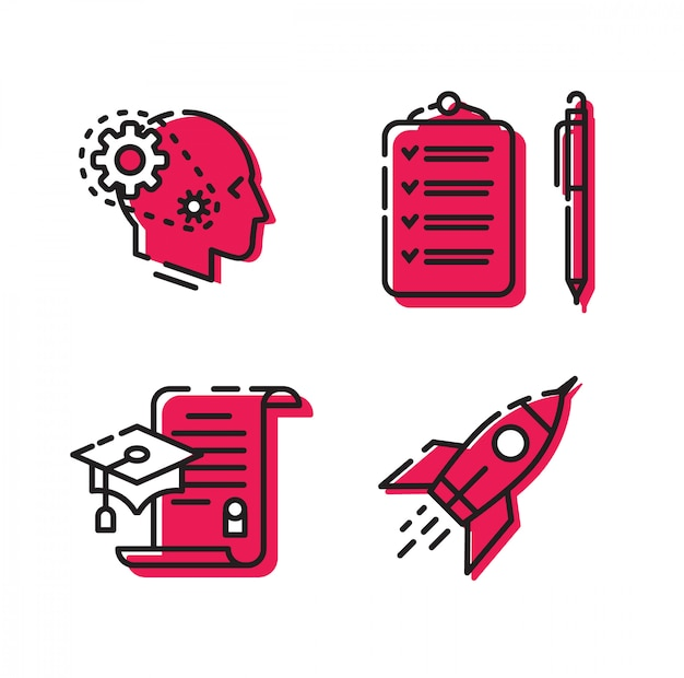 Icons for the site and the project. Premium Vector